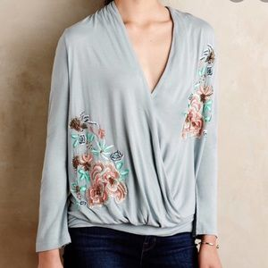Akemi + Kin Floral Embroidered Top Long Sleeve XS